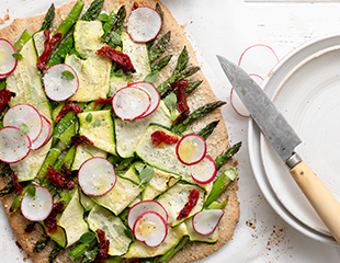 Asparagus Radish Tart made with Almond Flour Baking Mix Pizza Dough Recipe