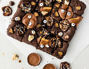 Leftover Halloween Candy Brownie Bars  made with Almond Flour Baking Mix Chocolate Muffin & Cake Recipe