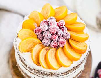 Vanilla Naked Cake with Persimmons & Cranberries made with Almond Flour Baking Mix Vanilla Cupcake and Cake Recipe