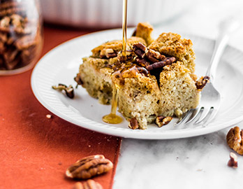 Pecan French Toast Casserole with Bourbon Caramel made with Almond Flour Baking Mix Artisan Bread Recipe