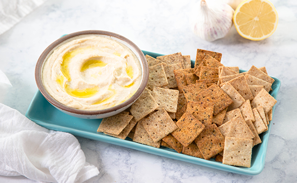 Hummus served with Simple Mills  almond flour crackers