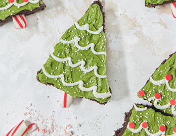 Naturally Colored Christmas Tree Brownies made with Almond Flour Baking Mix Chocolate Muffin & Cake Recipe