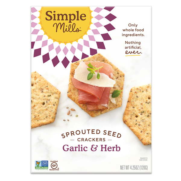 Simple Mills Sprouted Seed Crackers Garlic & Herb