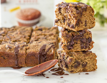 Caramelized Banana Chocolate Chip Blondies made with Almond Flour Baking Mix Banana Muffin & Bread Mix Recipe