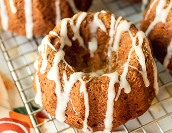 Chai Glazed Gingerbread Mini Bundt Cakes made with Almond Flour Baking Mix Pumkin Muffin & Bread Recipe