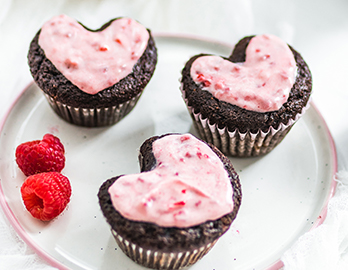 Chocolate Raspberry Heart Cupcakes made with Chocolate Muffin & Cake Mix Recipe