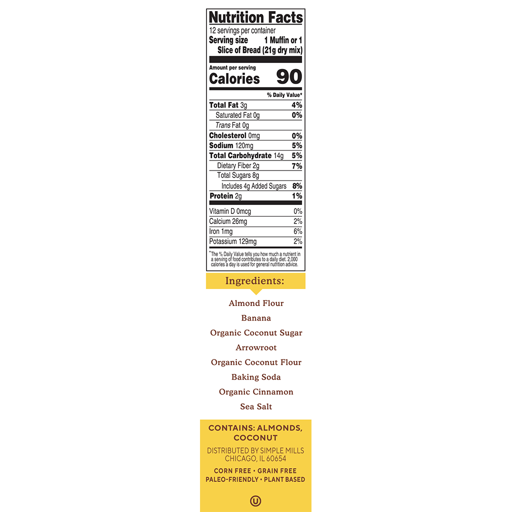 Almond Flour Baking Mix Banana Muffin & Bread Nutrition Facts and Ingredients. Box side panel