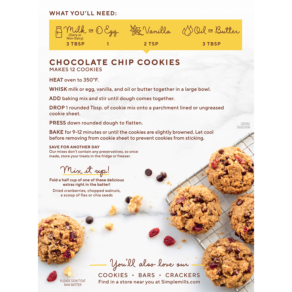 Almond Flour Baking Mix Chocolate Chip Cookie Directions and Recipes. Box back panel