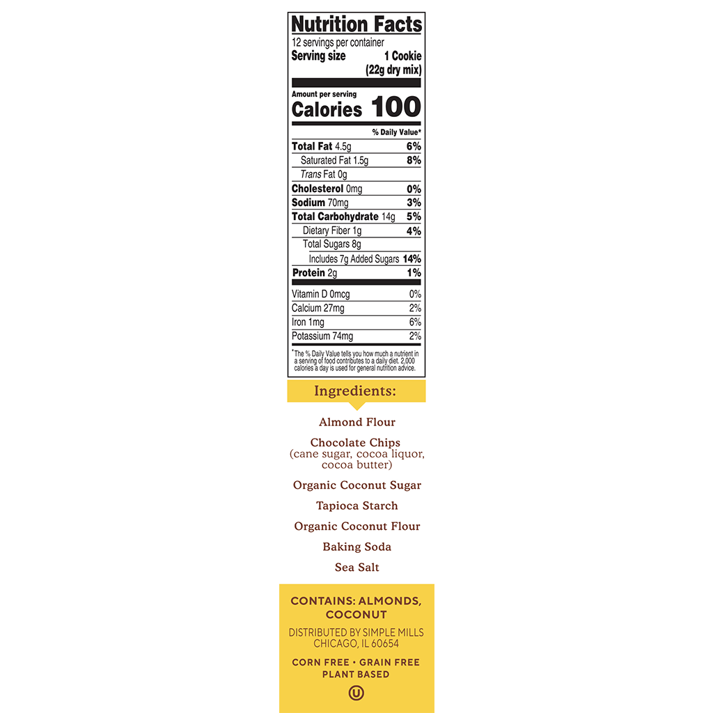 Almond Flour Baking Mix Chocolate Chip Cookie Nutrition facts and ingredients. Box side panel