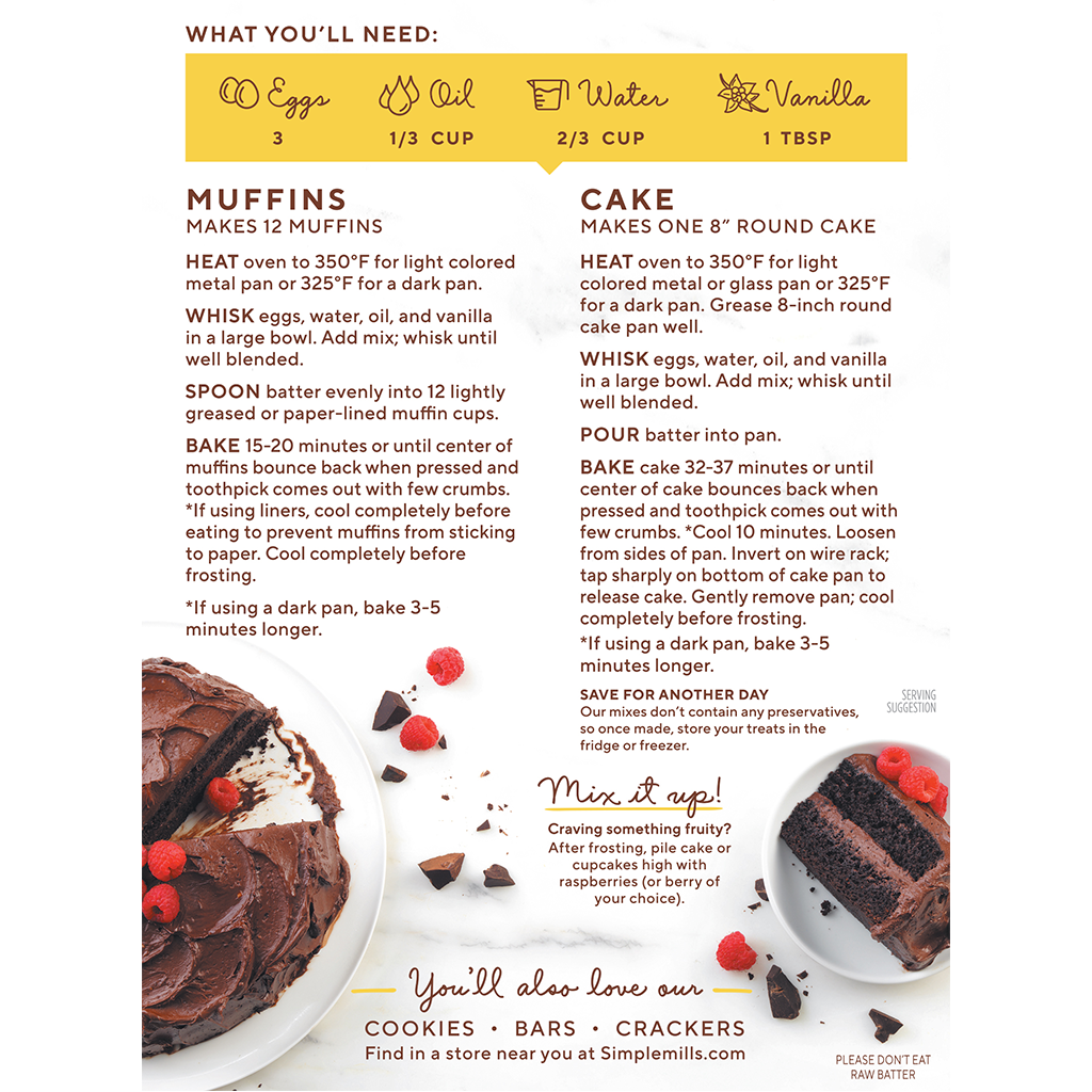 Almond Flour Baking Mix Chocolate Muffin & Cake Directions and Recipes. Box back panel