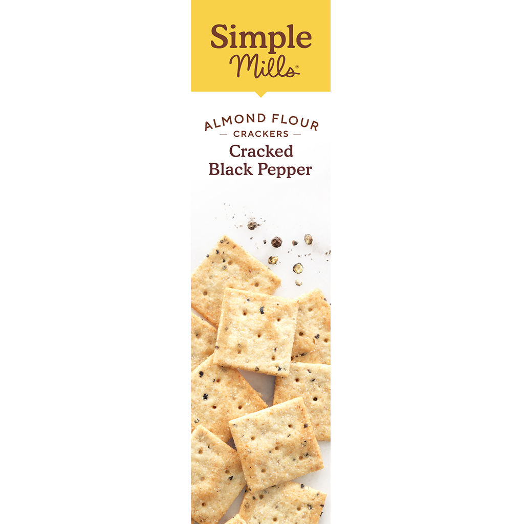Almond Flour Crackers Cracked Black Pepper, box side panel