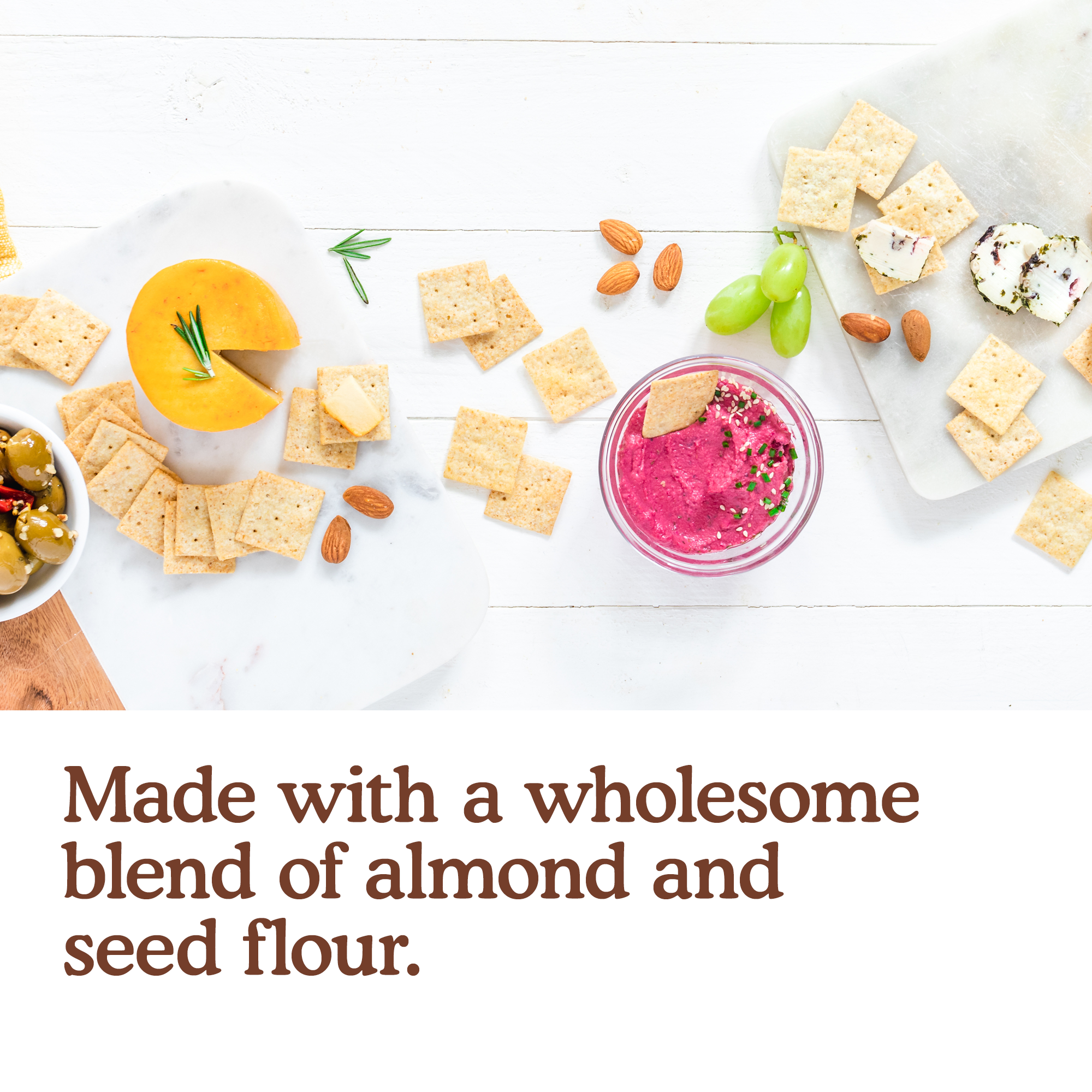 Made with a wholesome blend of almond and seed flour