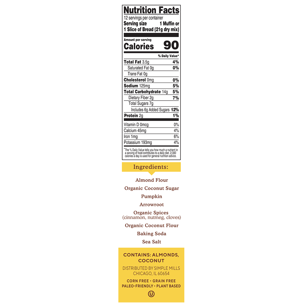 Almond Flour Baking Mix Pumpkin Muffin & Bread Nutrition facts and ingredients. Box side panel