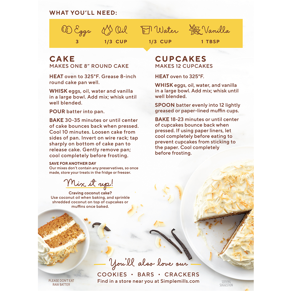 Almond Flour Baking Mix Vanilla Cupcake and Cake Directions and recipe. Box back panel