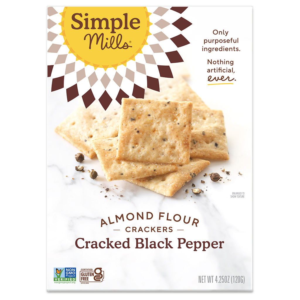 Almond Flour Crackers Cracked Black Pepper